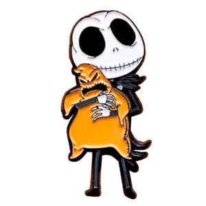 Jewelry - Jack skellington with oogie boogie plush toy pin